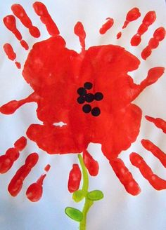 Spring art for kids flowers hand prints 17 Ideas Remembrance Day Activities, Remembrance Day Poppy, Toddler Art, Toddler Crafts, Kids Crafts, Infant Crafts, Kids Art Class, Art For Kids, Paper Plate Poppy Craft