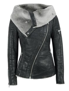 Arnelle Black Leather Biker Jacket $382