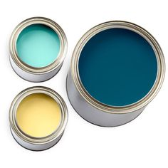 clockwise from top, Blue Ground, 210, Drawing Room Blue, 253, Dayroom Yellow, 233; all Farrow & Ball.