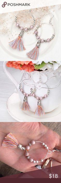 🆕High Quality Drop Loop Beaded Tassel Earrings Brand new! Handmade Earring Drop Loop beaded silver color Tassel Pendant earrings 7.8x3.2cm 1 pair. Beautiful piece, High Quality ! Jewelry Earrings