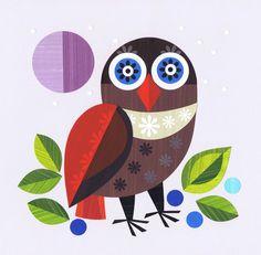 Ruru by Ellen Giggenbach Ruru is the Maori name for New Zealand's native owl. Contemporary NZ folk artist Ellen Giggenbach created the original artwork by handcutting and assembling painted papers. Popular Art, Arte Popular, Owl Art, Bird Art, Bird Illustration, Illustrations, Fine Art Posters, New Zealand Art, Framed Prints