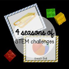 These STEM challenge cards are the perfect addition to your favorite building block center (LEGOS, wooden blocks, DUPLOS.) Kids will love using real world pictures as inspiration to build 11 common objects each season: Kindergarten Centers, Literacy Centers, Lego Challenge, Challenge Cards, Stem Activities, Activities For Kids, Preschool Themes, Playdough To Plato, Block Center