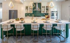 We are totally green with envy (see what I did there 😂) with the way the kitchen turned out on Forever Home episode The green tile and Kichler Lighting pendants are just AHHH-mazing! Brass Kitchen, Kitchen Cabinet Design, Green Kitchen, Modern Kitchen Design, Kitchen Decor, Kitchen Ideas, Kitchen Tile, Kitchen Island, Kitchen Inspiration