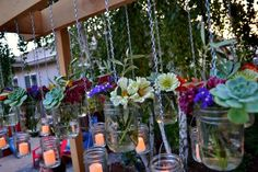 DIY with Mason Jars, Candle Impressions flameless votives, and flowers from your yard! Great job @Jackie