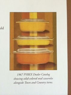 Pyrex solid colored Town and Country, 1967 Dealer Catalog