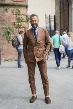 double breasted brown summer suit