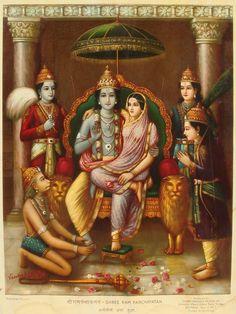 Vintage lithographs by Raja Ravi Varma and others Hanuman Images, Lord Krishna Images, Krishna Painting, Krishna Art, Krishna Leela, Om Namah Shivaya, Shree Ram Images, Lord Rama Images, Lord Hanuman Wallpapers