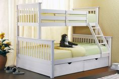 White Polo Wooden Triple 3 Sleeper Bunk Bed Sturdy Including Free Understorage