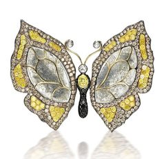 COLOURED DIAMOND, DIAMOND AND STONE BUTTERFLY BROOCH