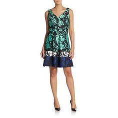 Taylor Women's Floral Stripe A-Line Dress