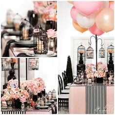 coco chanel inspired tablescape | big balloons | black & pink | eventplanning | DC eventplanner
