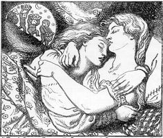 Christina Rossetti - Goblin Market - Golden head by golden head,  Like two pigeons in one nest  Folded in each other's wings,  They lay down, in their curtained bed