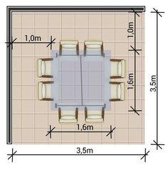 Ambiente com mesa quadrada de 8 lugares                                                                                                                                                                                 Mais