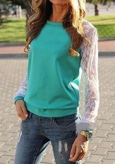 Green Contrast Lace Long Sleeve Loose Sweatshirt - abaday.com