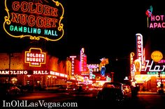 1950s Downtown Las Vegas' Fremont Street and Old Casinos Seen in Color Photo.