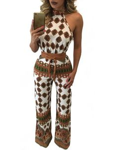 Halter Strappy Open Back Tribal Plaid Printed Boho Getaway Jumpsuit