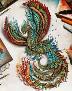 Like the detail. And maybe using different colors then the typical Phoenix in flames ? Phoenix Tattoo Feminine, Phoenix Bird Tattoos, Phoenix Tattoo Design, Tattoo Dragon And Phoenix, Phoenix Design, Phoenix Artwork, Phoenix Images, Pheonix Drawing, Mythical Creatures Art