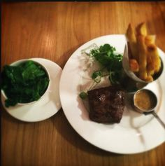 Steak and buttered greens at Graze, a favourite eaterie in Bristol.