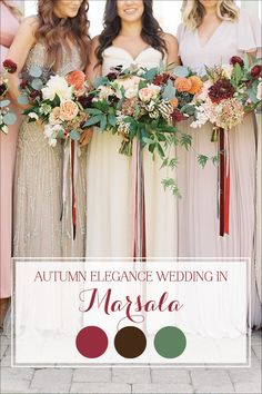 color palette, florals | love the ribbon look and the natural undone feel of this group | An Elegant Fall Wedding in Marsala
