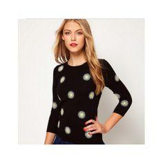 Black Round Neck Sweater Sleeve Inlay Chrysanthemum
