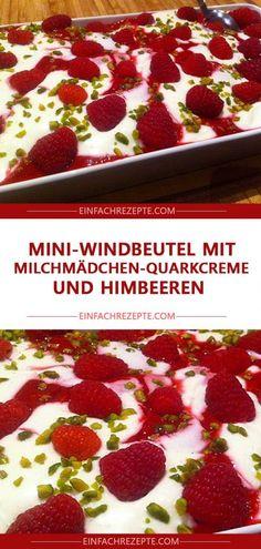 Mini-Windbeutel mit Milchmädchen-Quarkcreme und Himbeeren