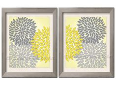 Yellow Gray Printable art Floral Burst Art by ModernPrintableArt, $5.00