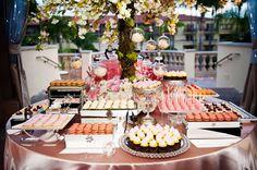 pink and gold wedding dessert buffet bar   Barnet Photography via CeremonyBlog.com (10)