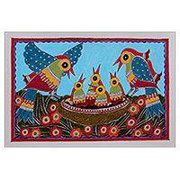 Madhubani painting, 'Happy Family'