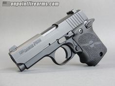 Sig Sauer P938 9mm subcompact with 6rd magazine.  Single action only with ambidextrous safety, rubber grips, and factory night sights.