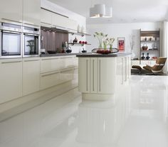 large white kitchen floor tiles. We put shiny white tiles in our ...