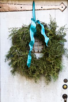 Silk Turquoise ribbon on casual cedar wreath Blue Christmas, Country Christmas, Winter Christmas, Christmas Holidays, Magical Christmas, Xmas, Holiday Wreaths, Holiday Crafts, Christmas Decorations