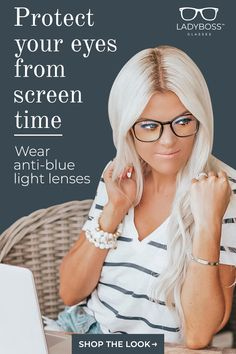 Give your eyes a break from harsh screen light! Studies show that blue-light emitted from computer and phone screens is a leading cause of migraines, insomnia, and eye fatigue. These gorgeous, classy glasses will filter blue light emitted by your computer Fashion Eye Glasses, Boss Lady, Things To Buy, Style Me, Beauty Hacks, Cute Outfits, Bad News, Womens Fashion, Casual