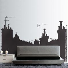 Adoptez un décor original pour votre intérieur avec ce sticker mural représentant les toits de Paris.
