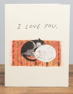 Cat Cuddle | Red Cap Cards | Illustrated greeting card by Becca Stadtlander #love #valentine
