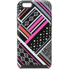 Vera Bradley Hybrid Case for iPhone 6/6s (Northern Stripes) Cell Phone... ($16) ❤ liked on Polyvore featuring accessories, tech accessories, grey and vera bradley