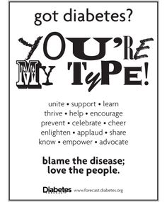 A diabetes awareness poster from Diabetes Forecast magazine. Please share!