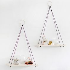 Wooden hanging rope shelves