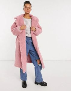Monki Teddy shearling coat in pink Asos, Teddy Coat, Shearling Coat, Lightweight Jacket, Pink Fashion, Spring Collection, Monki, Mantel, Latest Trends