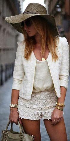 Cute-Hat-Lace-Shorts-handbeg-Shades-Cardigan-Necklace. Get your fashion on at http://www.pinterest.com/actvlifeessntls/luscious-women-effects/