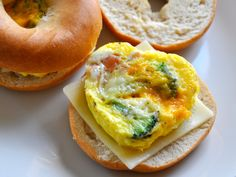 Mini Omelet Breakfast Bagels - after making those cute ham & cheese cut outs for the EasyLunchBox repurpose it and make mini omelets then top them on a bagel for hubby's quick breakfast!  AWESOME!