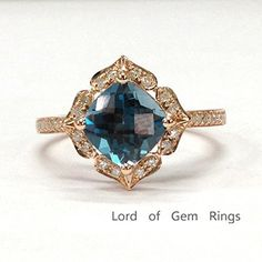 $568 Cushion London Blue Topaz Engagement Ring Pave Diamond Wedding 14K Rose Gold,8mm,Floral Style