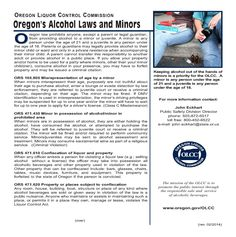 Oregon's alcohol laws and minors, by the Oregon Liquor Control Commission