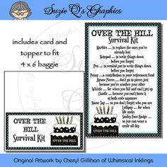 Over The Hill Survival Kit includes Topper and Card Digital