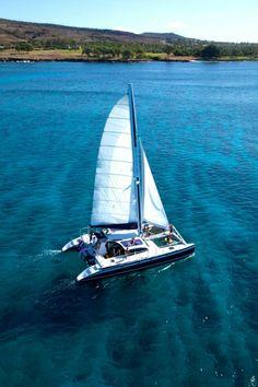 Two birds w/ one stone!!! Sailing off the coast of Oahu, Hawaii.