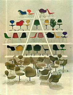 A glorious pyramid of Eames upholstered wire chairs and upholstered fiberglass chairs by @hermanmiller #shellspotting #eames from a 1963 Herman Miller product catalog