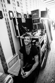Austin Carlile of Of Mice & Men after the set hanging in the semi in Wantagh, NY. full set- http://adamelmakias.com/live/photos-from-warped-tour-2014/