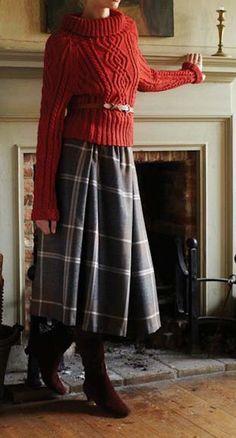 Midi plaid skirt and belted turtleneck