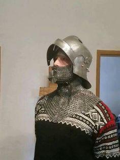 Fantastic repro based on a german manuscript Medieval renaissance armor Sallet helmet helm maile chain mail bevor camail