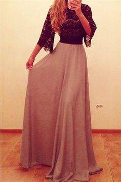 3/4 Sleeve Spliced Maxi Dress