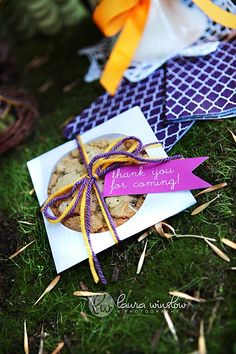 Easy party favor... big cookie in CD envelope. I love this idea.... simple easy heartfelt and it will NOT be thrown in a junk drawer. Plus I make AMAZING chocolate chip cookies